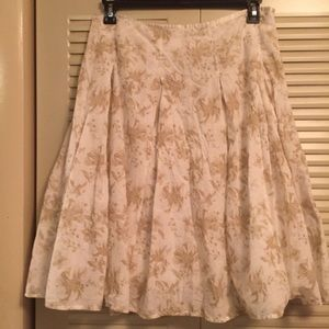 All Cotton Woman's 12 Tan And Cream Floral Skirt